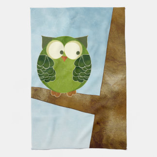 Cute Green Owl Kitchen Towel