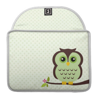 Cute Green Owl Sleeve For MacBook Pro