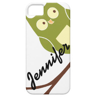 Cute Green Owl with Name iPhone 5 Case