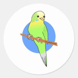 Cute Green Parakeet Classic Round Sticker