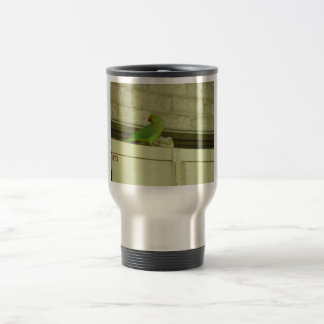 Cute Green Parrot On The Cupboard Coffee Mug