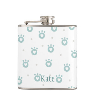 Cute Green Pet Paws with Hearts |  Personalized Hip Flask