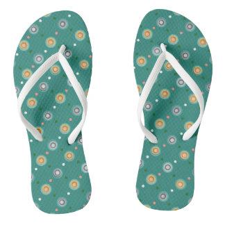 Cute Green Polka Dots Flip Flops