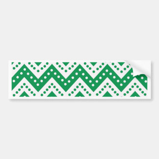 Cute Green Polkadot Zigzags Bumper Sticker