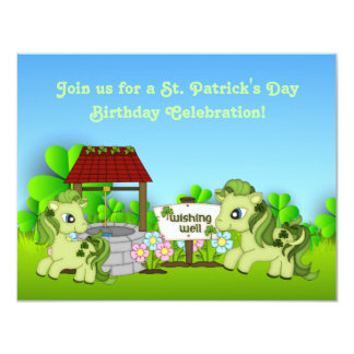 Cute Green Ponies St Patrick's Day Horse Birthday Card