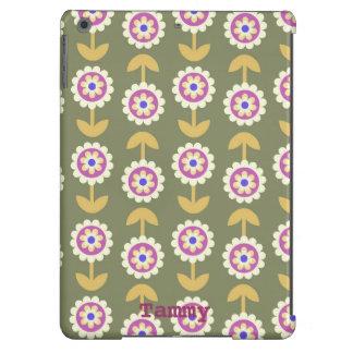 Cute Green Purple Cartoon Flower iPad Air Cover