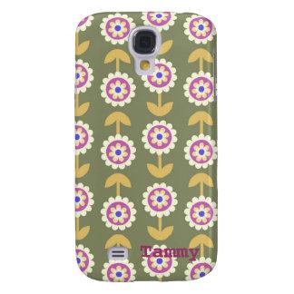 Cute Green Purple Cartoon Flower Samsung Cover Galaxy S4 Cover