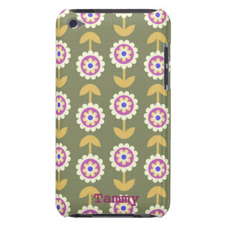 Cute Green Purple Cartoon Flowers iPod Cover iPod Case-Mate Cases