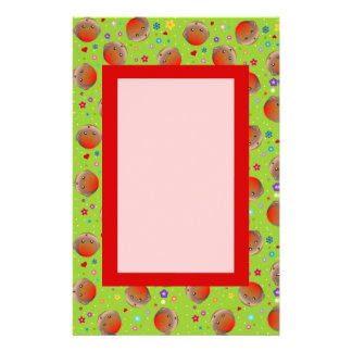 Cute Green Robin Red Breast Pattern note paper Stationery Design