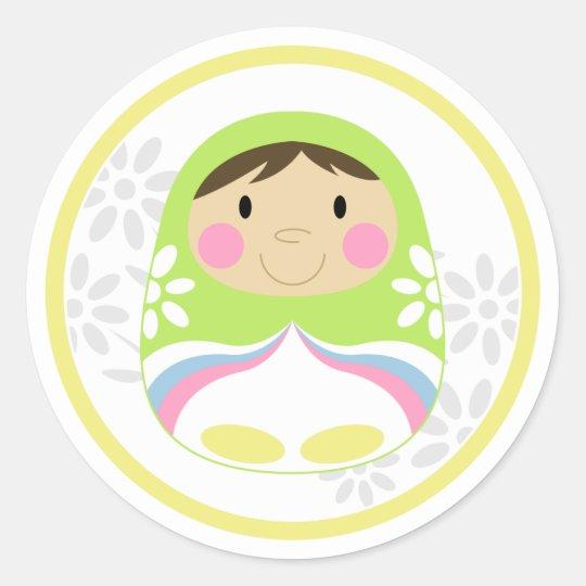 Cute Green Russian Doll Sticker Sheet