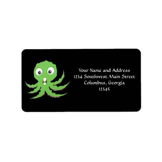 Cute Green Sea Monster Label