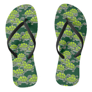 Cute Green Sea Turtles Swimming Pattern Flip Flops