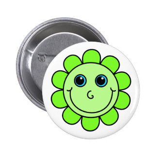 Cute  Green Smiley Face Flower 2 Inch Round Button