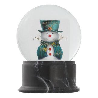 Cute Green Snowman Christmas Snow Globe