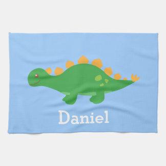 Cute Green Stegosaurus Dinosaur for Kids Kitchen Towel