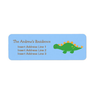 Cute Green Stegosaurus Dinosaur, For kids Return Address Label