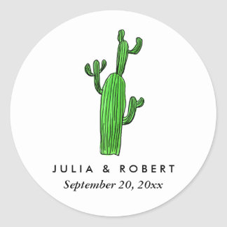 Cute Green Succulents Watercolor Wedding Favor Round Sticker