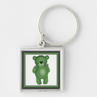 Cute Green Teddy Bear - Frankenbear's Monster Silver-Colored Square Keychain