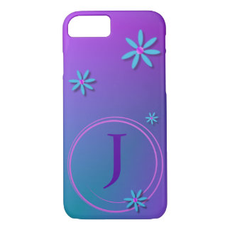 Cute Green to Purple Monogrammed Daisy iPhone 8/7 Case