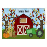 Cute Green Tractor and Barn Autumn Farm Thank You Note Card