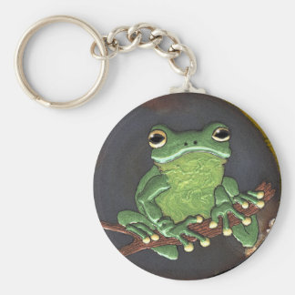 Cute Green Tree Frog Animal-lovers Gift Basic Round Button Keychain