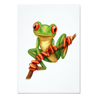 "Cute Green Tree Frog on a Branch 3.5"" X 5"" Invitation Card"