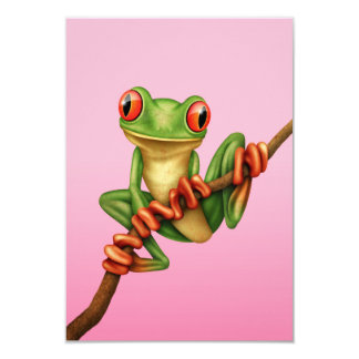 "Cute Green Tree Frog on a Branch on Pink 3.5"" X 5"" Invitation Card"