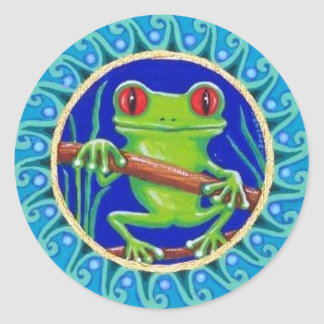 Cute green tree frog sticker by Soozie Wray