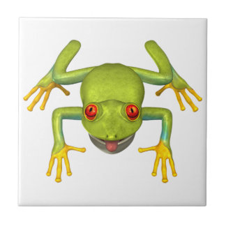 Cute Green Tree Frog Tile