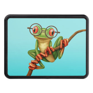Cute Green Tree Frog with Eye Glasses on Blue Trailer Hitch Cover