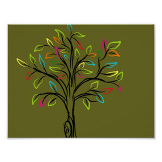 Cute Green Tree Multicolor leaves custom wallpaper Poster