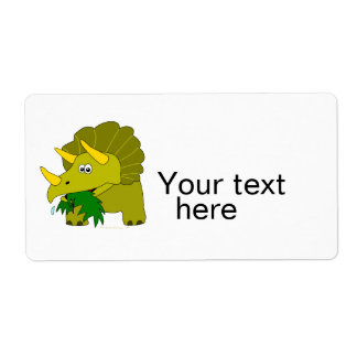 Cute Green Triceratops Cartoon Dinosaur Personalized Shipping Labels
