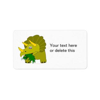 Cute Green Triceratops Cartoon Dinosaur Personalized Address Label
