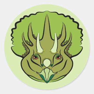 Cute Green Triceratops Dinosaur Classic Round Sticker