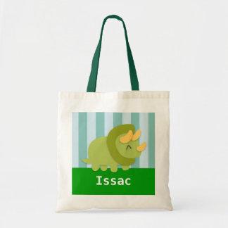 Cute Green Triceratops Dinosaur Kids Tote Bag