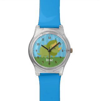 Cute Green Triceratops Kids Personalized Watch