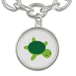 Cute Green Turtle Button Charm Bracelet