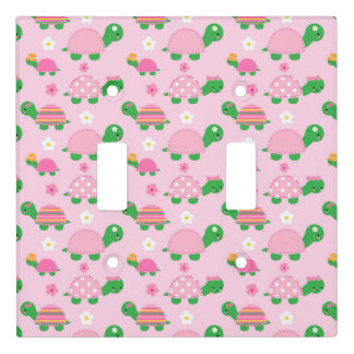 Cute Green Turtle on Colourful Pink Light Switch Cover