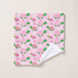 Cute Green Turtle on Colourful Pink Wash Cloth