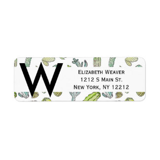 Cute Green Watercolor Paint Summer Cactus Pattern Return Address Label