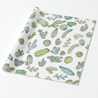 Cute Green Watercolor Paint Summer Cactus Pattern Wrapping Paper