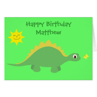Cute Green & Yellow Dinosaur Birthday Card