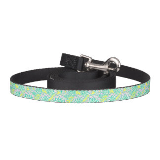 Cute green yellow floral pattern pet leash