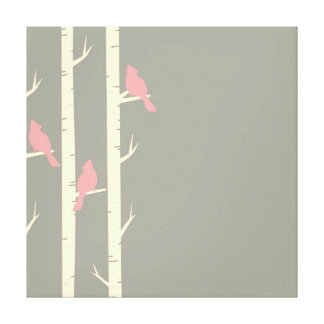 Cute Grey and Pink Birds Perched on Birch Trees Canvas Print