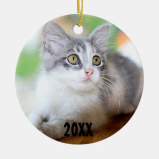 Cute Grey and White Kitten Photo Ornament