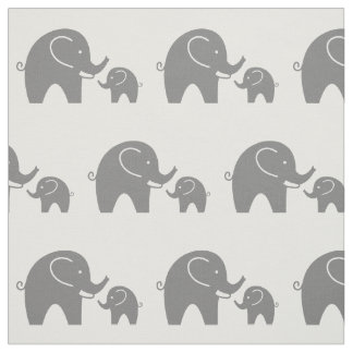 Cute grey baby elephant pattern fabric DIY textile