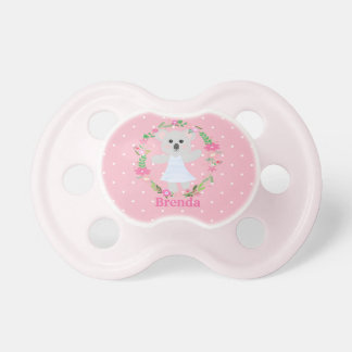 Cute Grey Baby Koala Bear pink white polkadots Pacifier