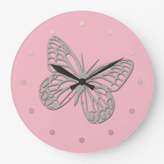 Cute Grey Butterfly Pink Wall  Clock
