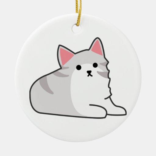 Cute Grey Cat Illustration, Feline Drawing Christmas Tree Ornaments