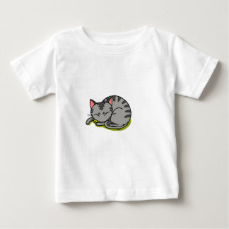 Cute grey cat sleeping baby T-Shirt